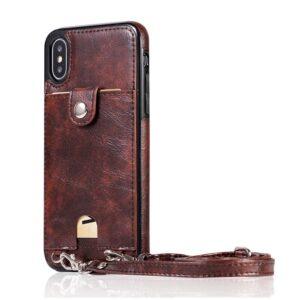 Apple iPhone Cover Case Leather Hülle Faux Leder Crossbody Hülle - Braun