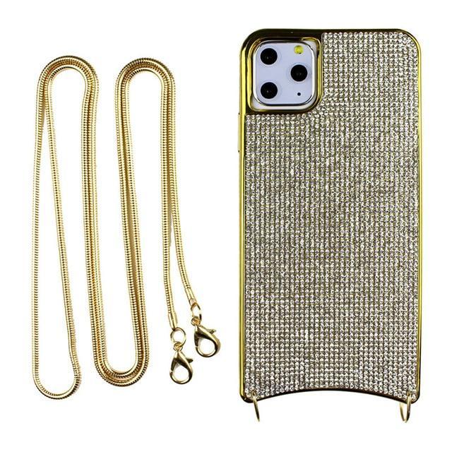 Apple iPhone Diamond Case Hülle mit Riemen Silver Cover