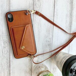 Apple iPhone Faux Leder Hülle mit Riemen Crossbody hüllen mit strap