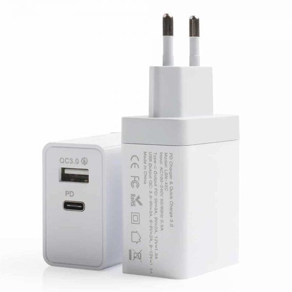 USB-Wandladegerät Dual Port USB-A / USB-C 18W